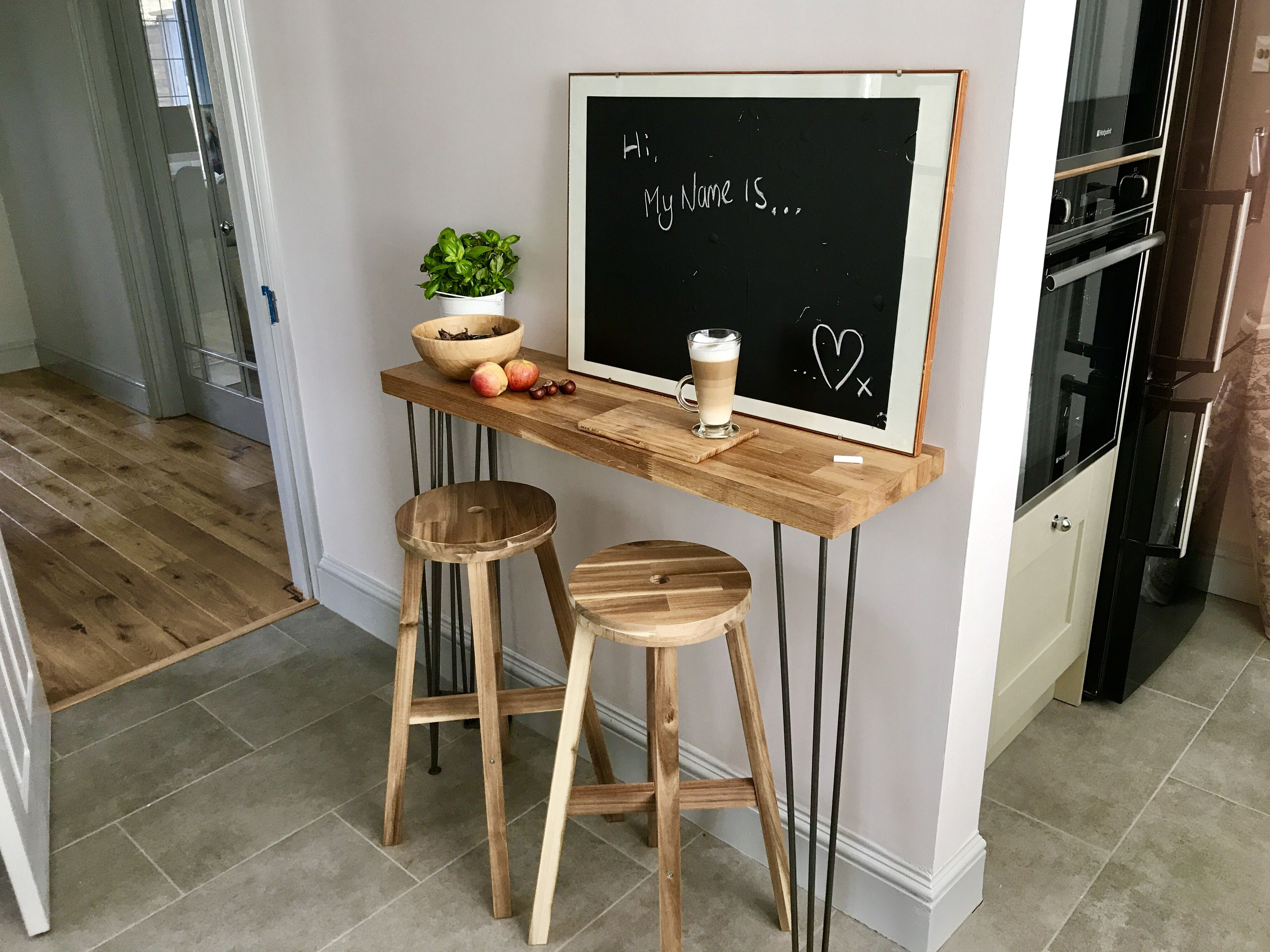Our D I Y Oak Breakfast Bar With Hairpin Legs Was A Perfect