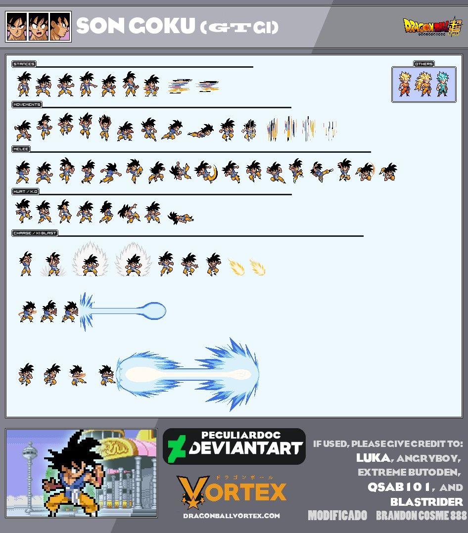 Goku Gt Adulto Lsw Sprite Sheet Geek Dragon Dragon Ball Goku
