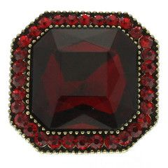 Gold Square Red Gemstone available at http://www.divabelle.com $8.99