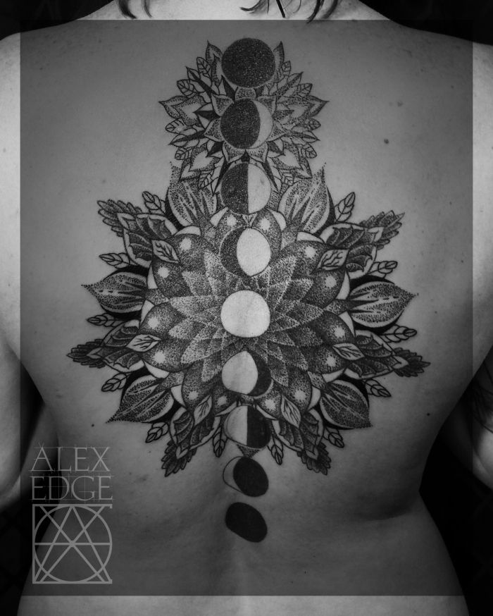 Dotwork Mandala Tattoo, sacred geometry, Mandala tattoo, San Diego, by Alex Edge Check out more of my work at www.alexedgetattos.com