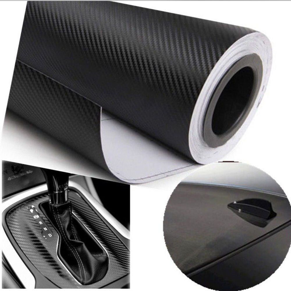 30cmx127cm Real 3D CARBON Fiber Film Wrap Vinyl Car Sticker Sheet Black