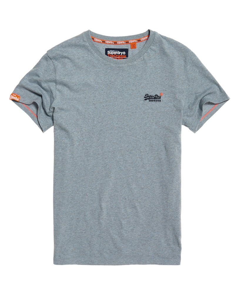 Superdry Orange Label embroidered t shirt in blue