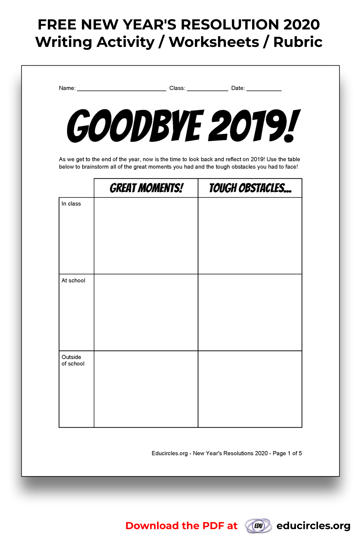 FREE NEW YEAR'S RESOLUTION 2020 Writing Activity ...