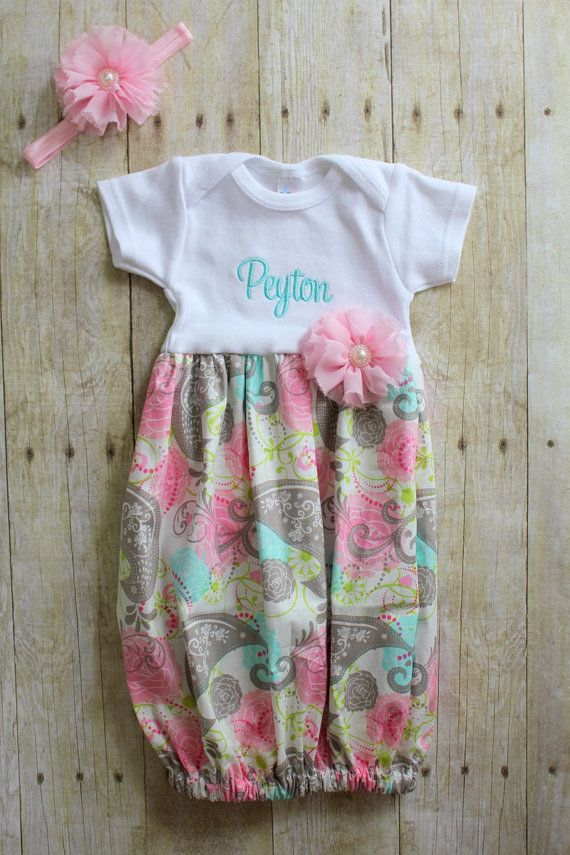 15c6bd8c9dbc Newborn Going Home Outfit - Summer Dress - Aqua   Pink Paisley - Baby  Shower Gift - With Headband