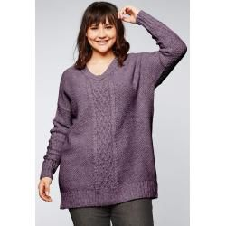 Photo of Large sizes: V-neck sweater with cable pattern, mauve, size 44/46 Sheego