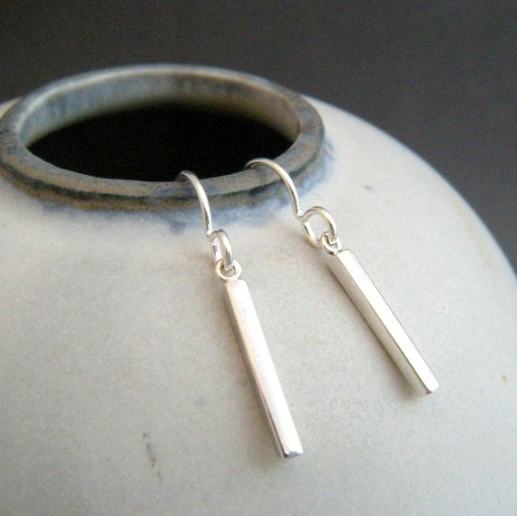 Pee Sterling Silver Bar Earrings 5 8 Length 925 Charm And Ear Wires Choice Of Hooks Or Lever