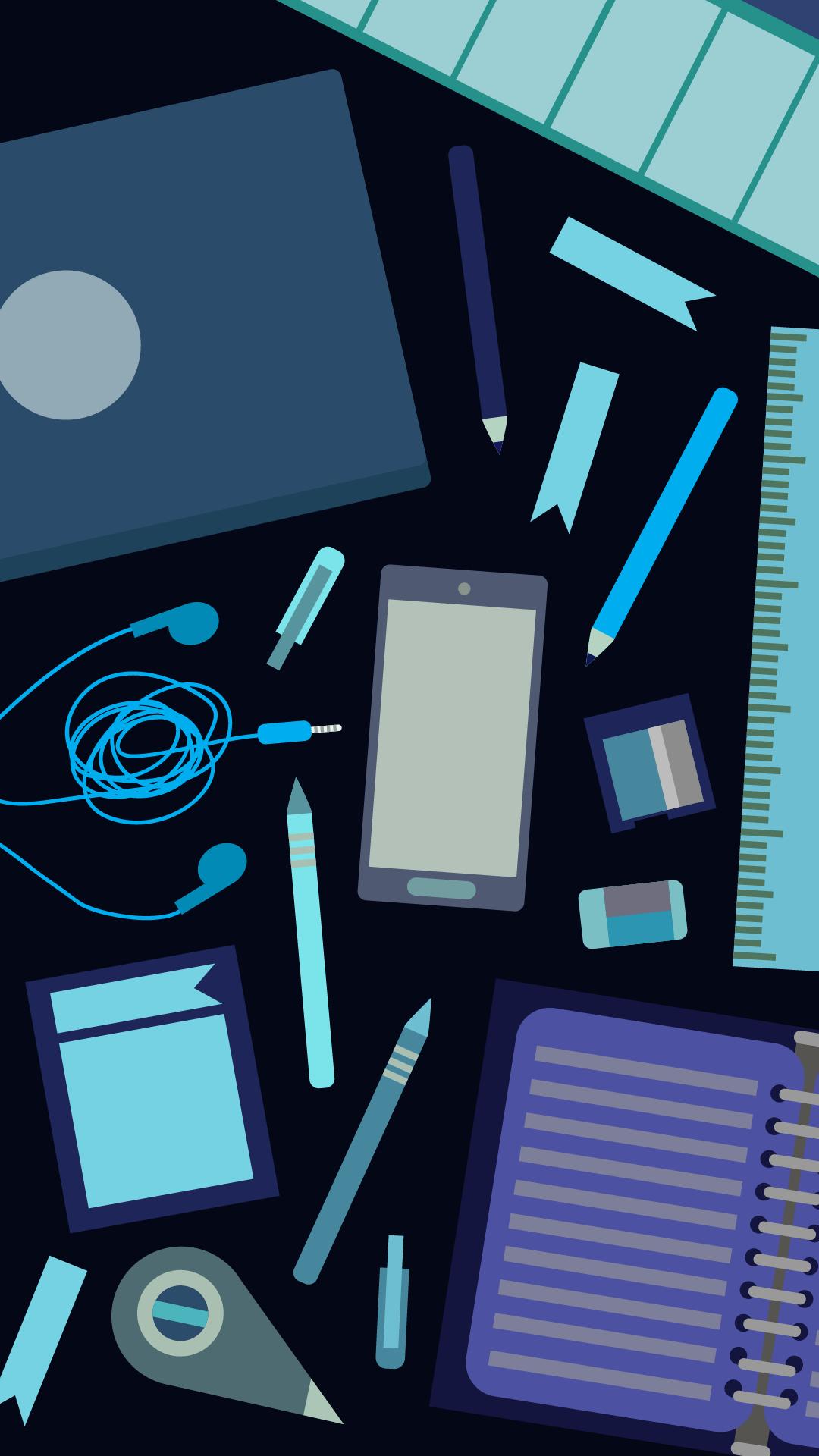 Stationery Blue Sekolah Lucu Belajar Latar Belakang Animasi