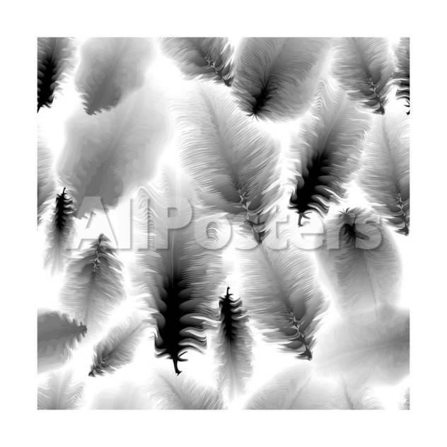 Seamless pattern of black and white feathers by ersler landscapes art print 30 x 30