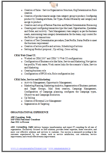 Sap Crm Resume Page 2 Resume Crm Job Resume