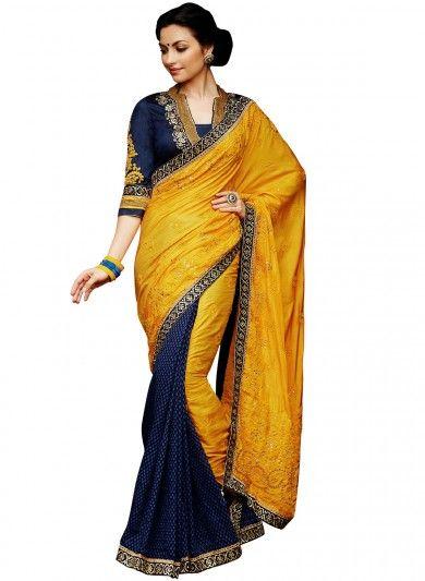 27a02d8f9e7ec Yellow and Blue Art Silk Half and Half Saree
