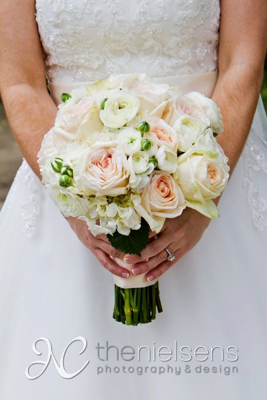 Pink Garden Rose And Hydrangea Bouquet bridal bouquet of white o'hara garden roses, white ranunculus