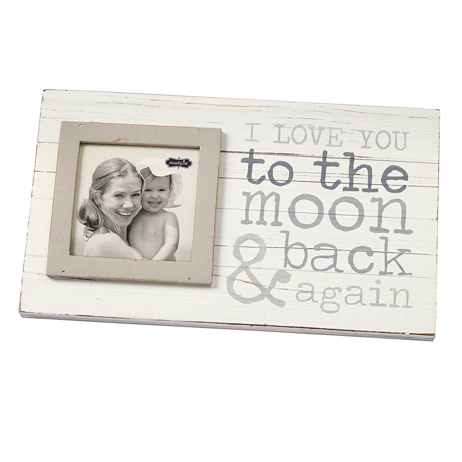 Mud Pie To The Moon Planked Photo Frame 4 X 4 Gray