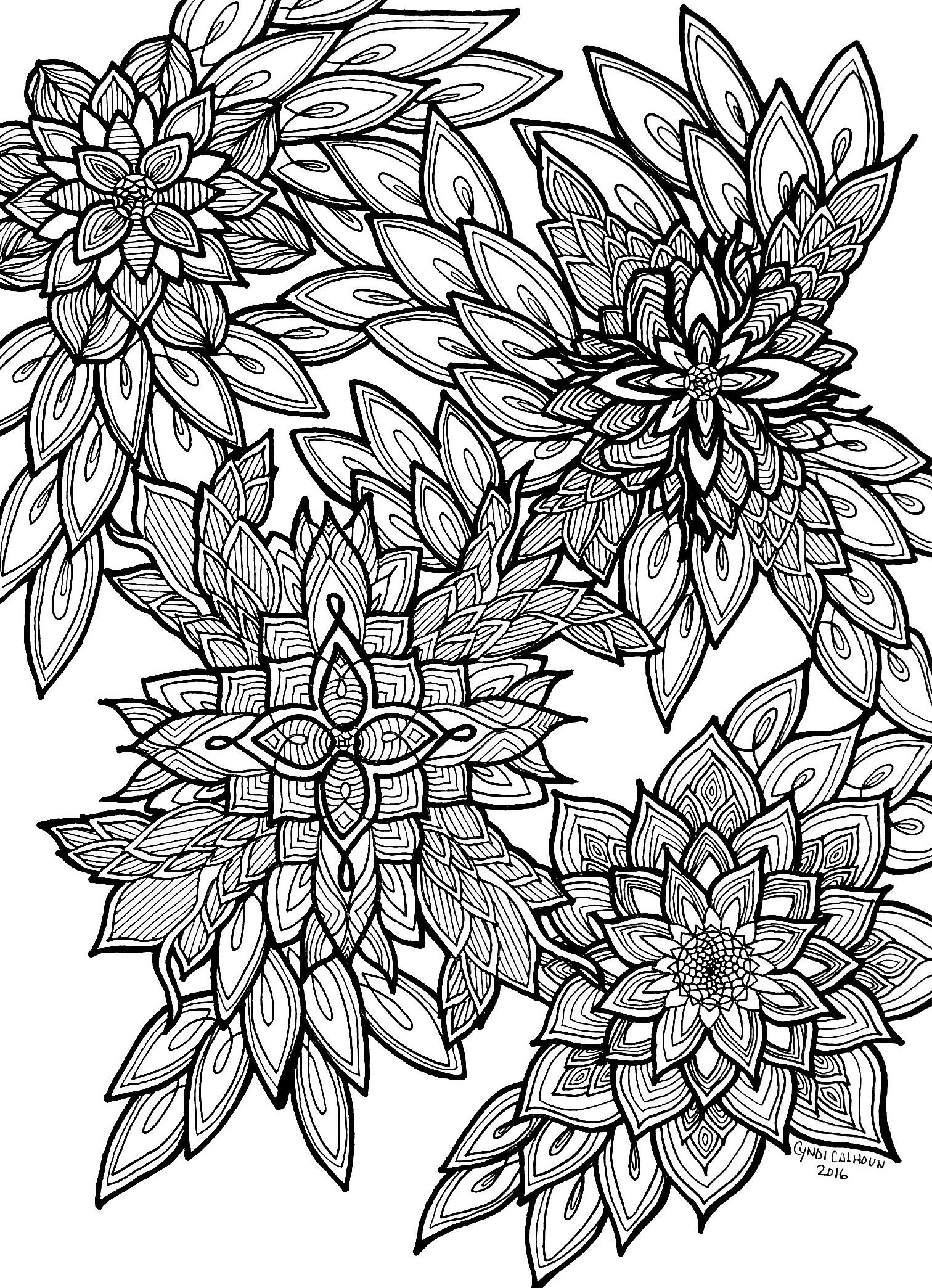coloring pages for adults flowers - Google Search | Adult ...