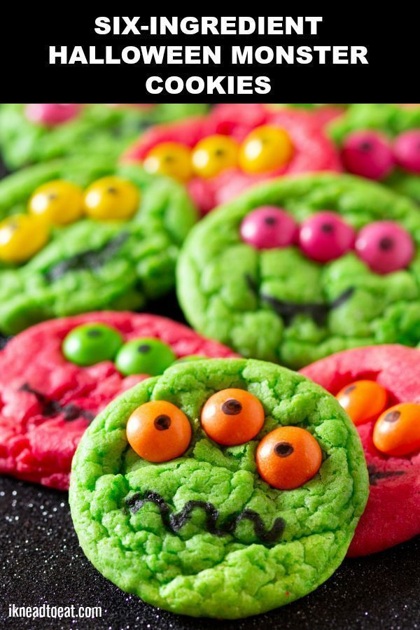 Six-Ingredient Cake Mix Halloween Monster Cookies | I Knead to Eat
