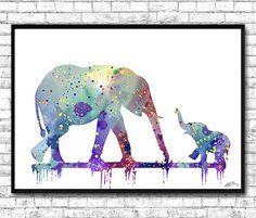 Mom and cute Baby Elephant 2 Watercolor print Animal Wall dec... Children's Room ...
