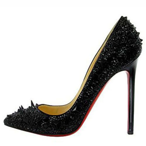 Christian Louboutin Spiked Pigalle 120 Strass Pumps Black