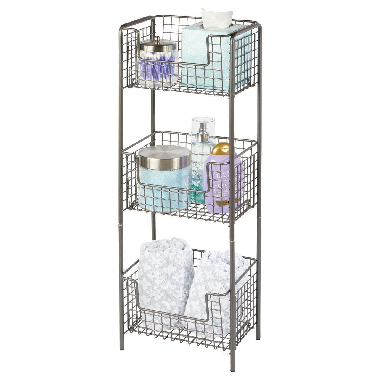 3 Tier Wire Free Standing Bathroom Storage Shelf