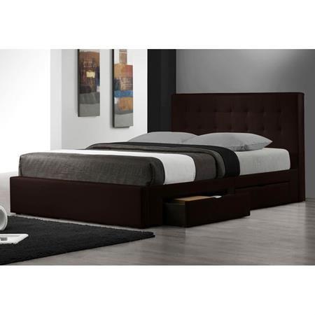 Marlowe Leather Platform Storage Bed In Espresso Queen Size Storage Bed Modern Bed Furniture