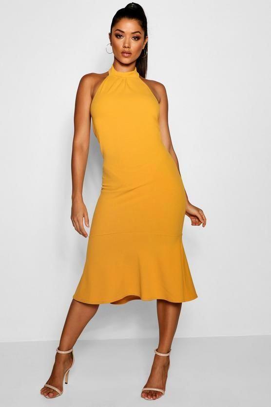 d71d429effe2 High Neck Frill Hem Midi Dress #daydresses | Day Dresses! | Dresses ...