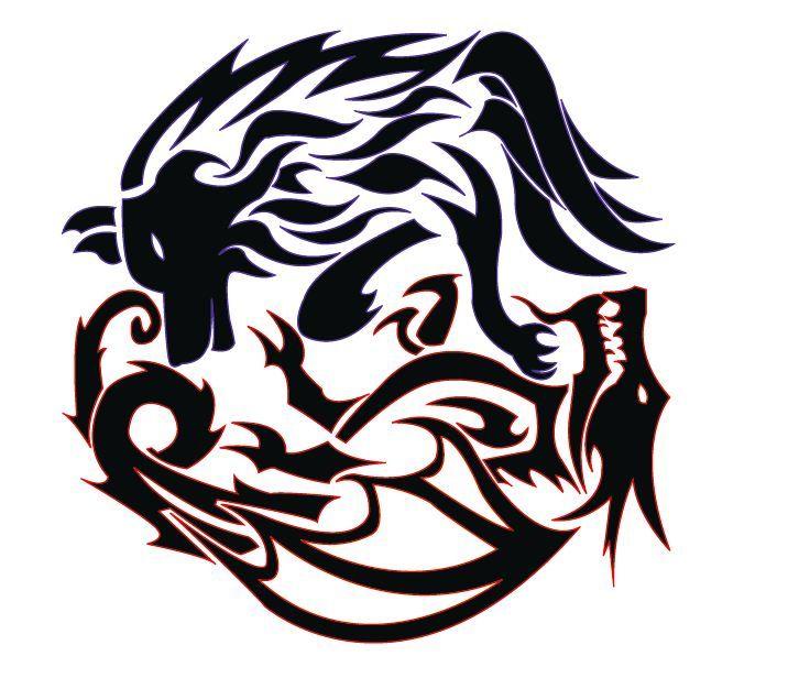 dragon wolf tattoo by on deviantart tattoos i want pinterest. Black Bedroom Furniture Sets. Home Design Ideas