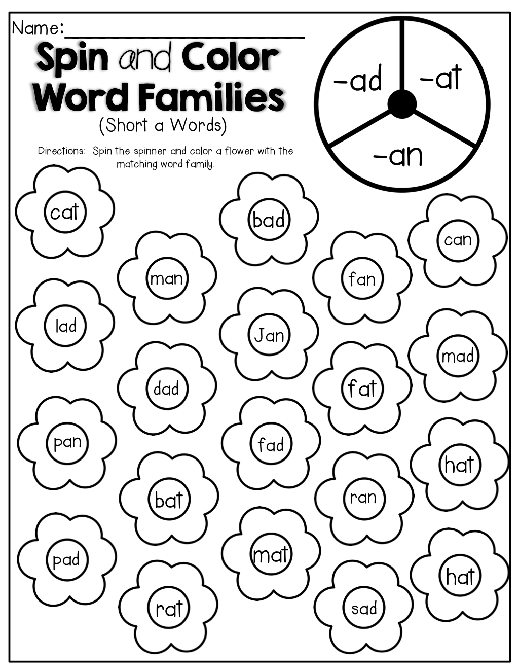 Spin and Color a Word Family Flower! Short a words! Word