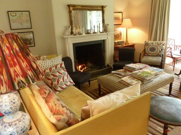 Love the strong patterns and neutral base sitting room in - How much do interior designers get paid ...