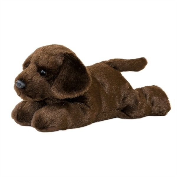 Choco the Stuffed Chocolate Lab Flopsie Plush Dog by Aurora at Stuffed... ($12) ❤ liked on Polyvore featuring stuffed animal