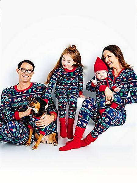 1bcc8d910299 Dark Blue Christmas Print Family Matching Christmas Pajamas Sets-Me ...