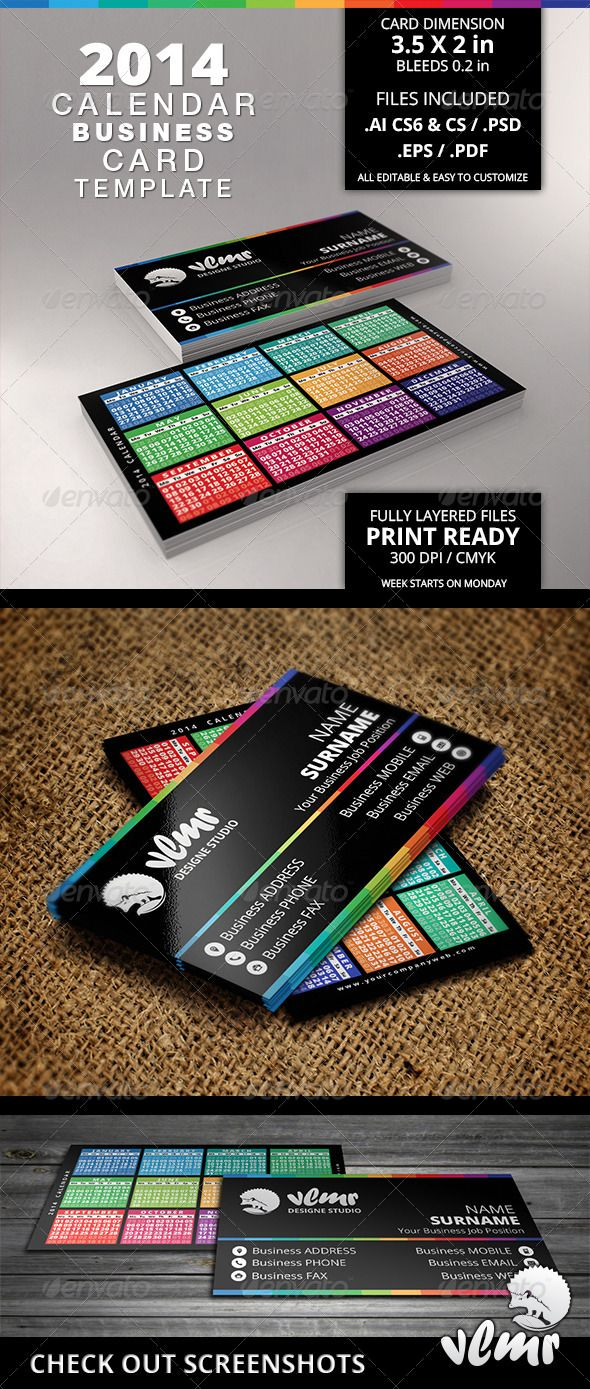 Business Card With Calendar Calendars Stationery Work - Business card calendar template
