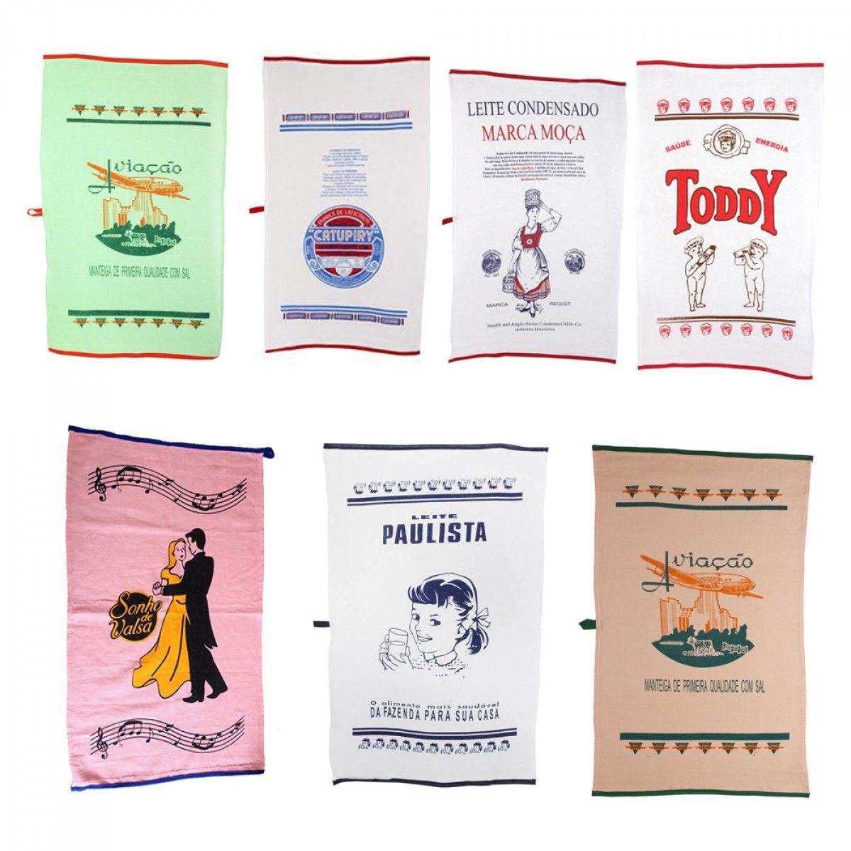 Para você que adora retrô! Estes Panos de prato de algodão, com estampas das marcas famosas Toddy, Manteiga Aviação, Catupiry, Sonho de Valsa, Paulista e Moça, sua cozinha vai brilhar ainda mais