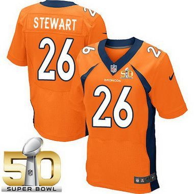5fed3de48 Men s Denver Broncos  26 Darian Stewart Orange Team Color 2016 Super Bowl  50th Patch Bound Elite Jersey
