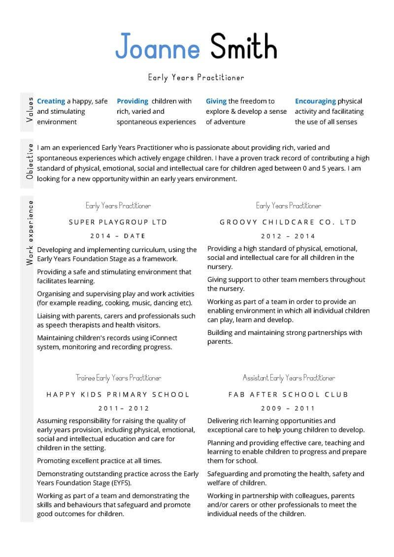 early years and education cv template