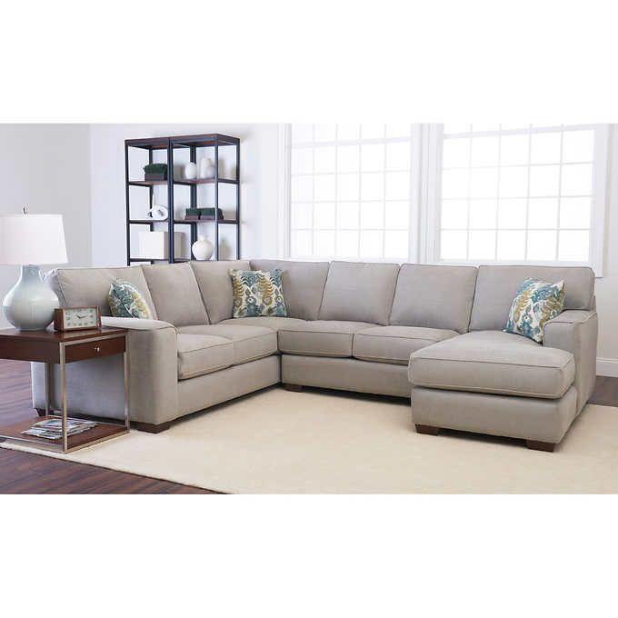 abbott fabric sectional corner sofa armless loveseat rightfacing chaise u0026 3 hardwood feet