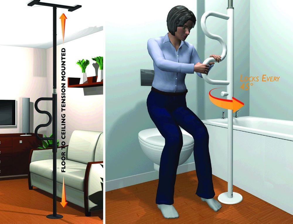 Standers Security Bed Assist Pole Slim Curved Grab Bar Adjustable 8 ...