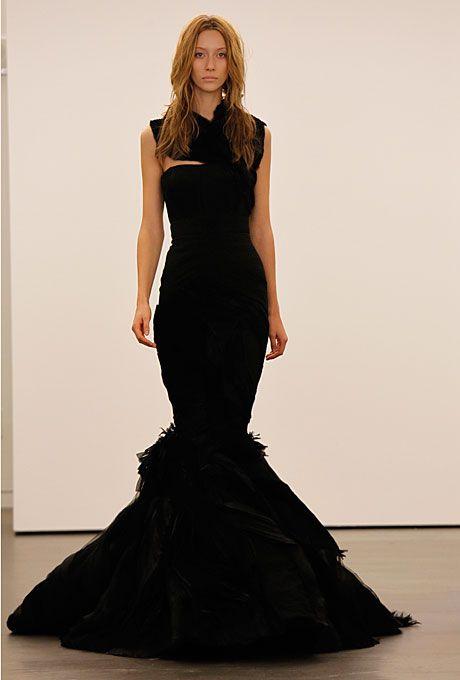 "Brides: Vera Wang - Fall 2012. ""Jessica"" black mermaid wedding dress with feather details and a high neck bolero, Vera Wang"