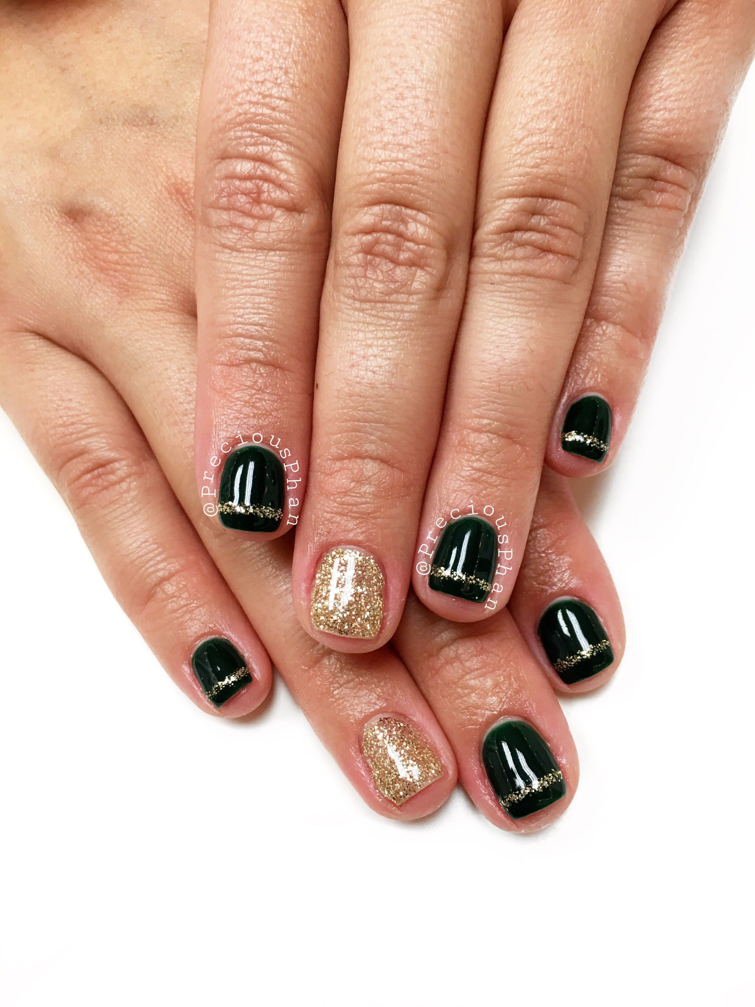 Dark green nails. With gold lines. #PreciousPhan | Precious Phan ...