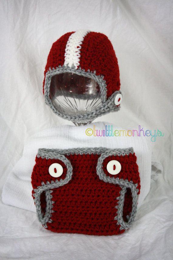 Newborn Crochet Football Helmet/Diaper Cover SET --Alabama This ...