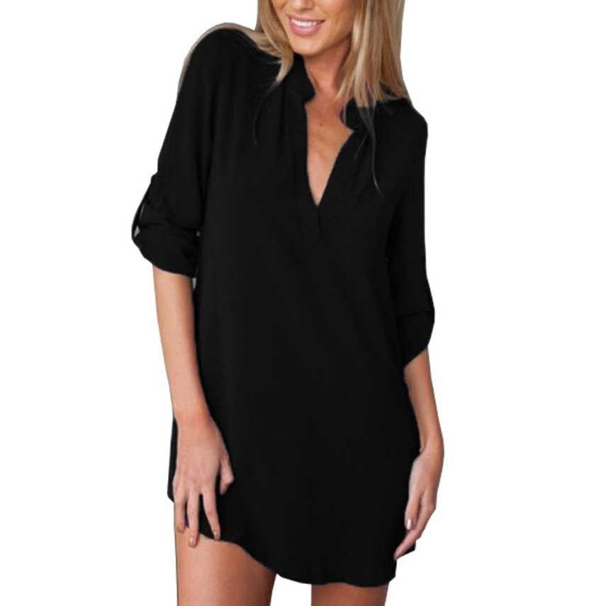 14e204f3cd45f Long Sleeve Shirt Women Plus Size Women Shirts Summer Spring Summer New Chiffon  Blouses V-