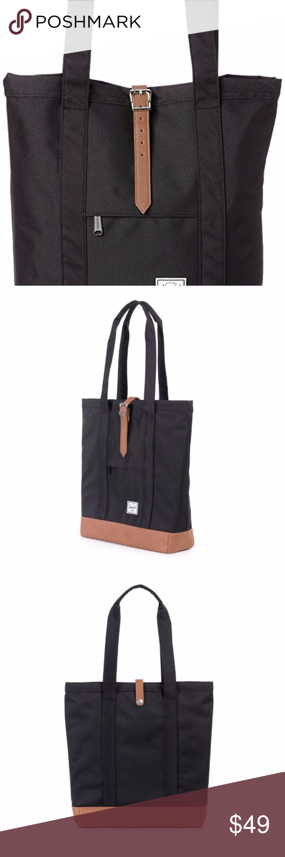 96f368d7c Herschel Supply Co. MARKET TOTE BLACK/TAN Pre-Owned. Used twice. EUC.  Details About Tote • Color: Black • Handle Color:Tan • Polyester • Imported  ...
