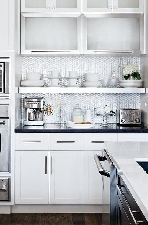 Combo Of White Stainless Steel Cabinets Floating Shelf Mini Marble Hex Tile