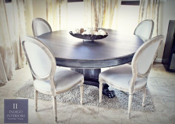 Gorgeous 60 inch Round Black w/ Silver Glazed Dining ...
