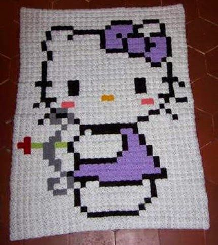 Pixel Hello Kitty Blanket - Free Pattern | Needle works | Pinterest