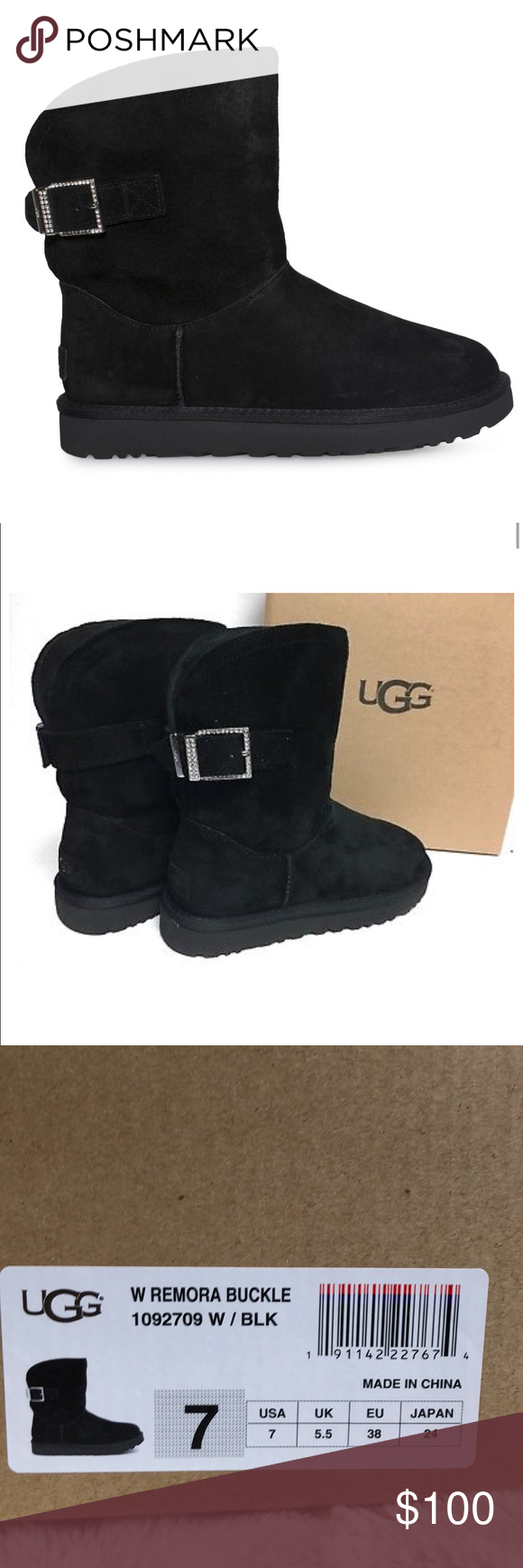 Remora Buckle Black Ugg Boots Size 7