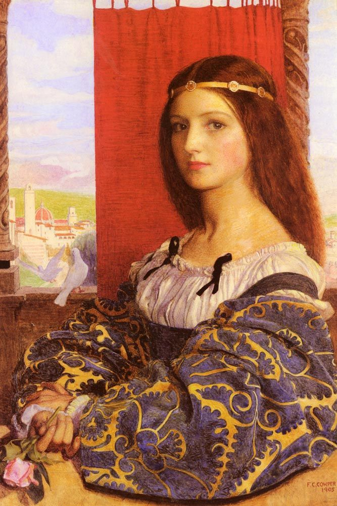 Frank Cadogan Cowper (1877-1958)  Molly, Duchess Of Nona (Maurice Howlett's 'Little Novel Of Italy)  Watercolour and bodycolour  1905