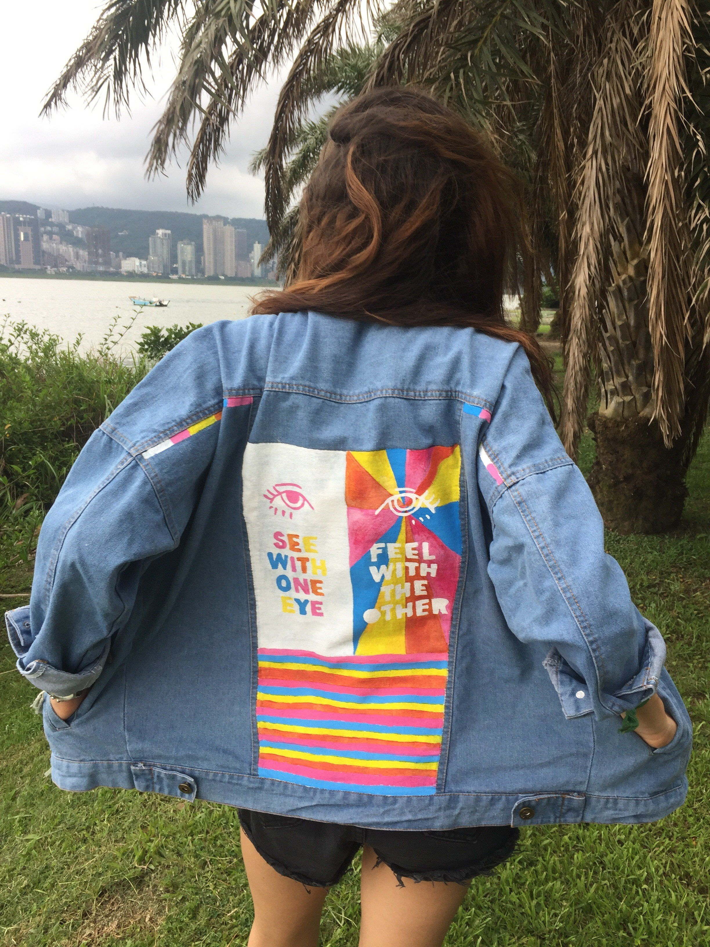 See With One Eye Feel With The Other Diy Denim Jacket Custom Denim Jacket Denim Jacket [ 3264 x 2448 Pixel ]