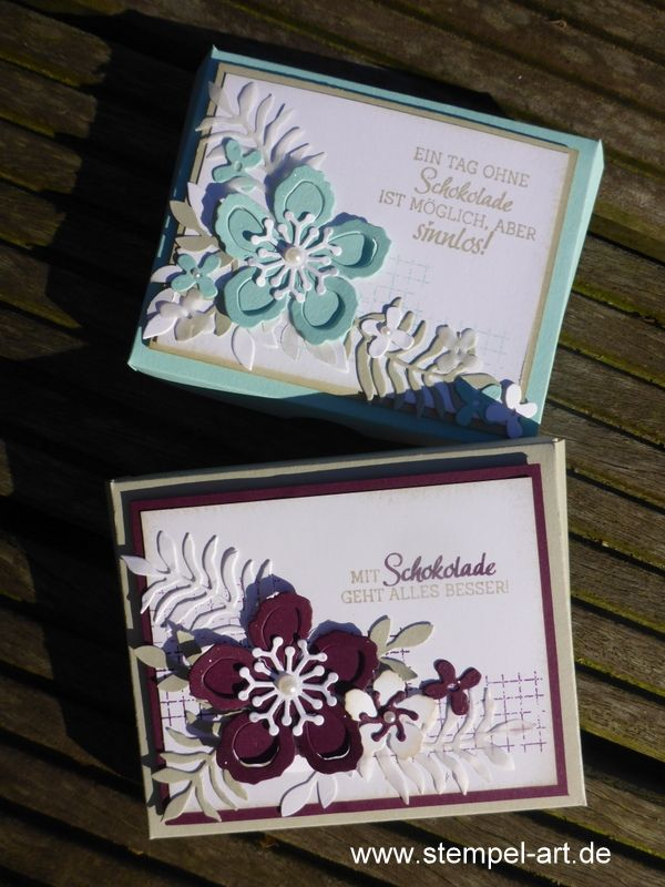 Botanical Garden to stamp type Stampin up, Botanical Blooms, Plants Potpourri, Timeless Textures, chocolate packaging, pizza box