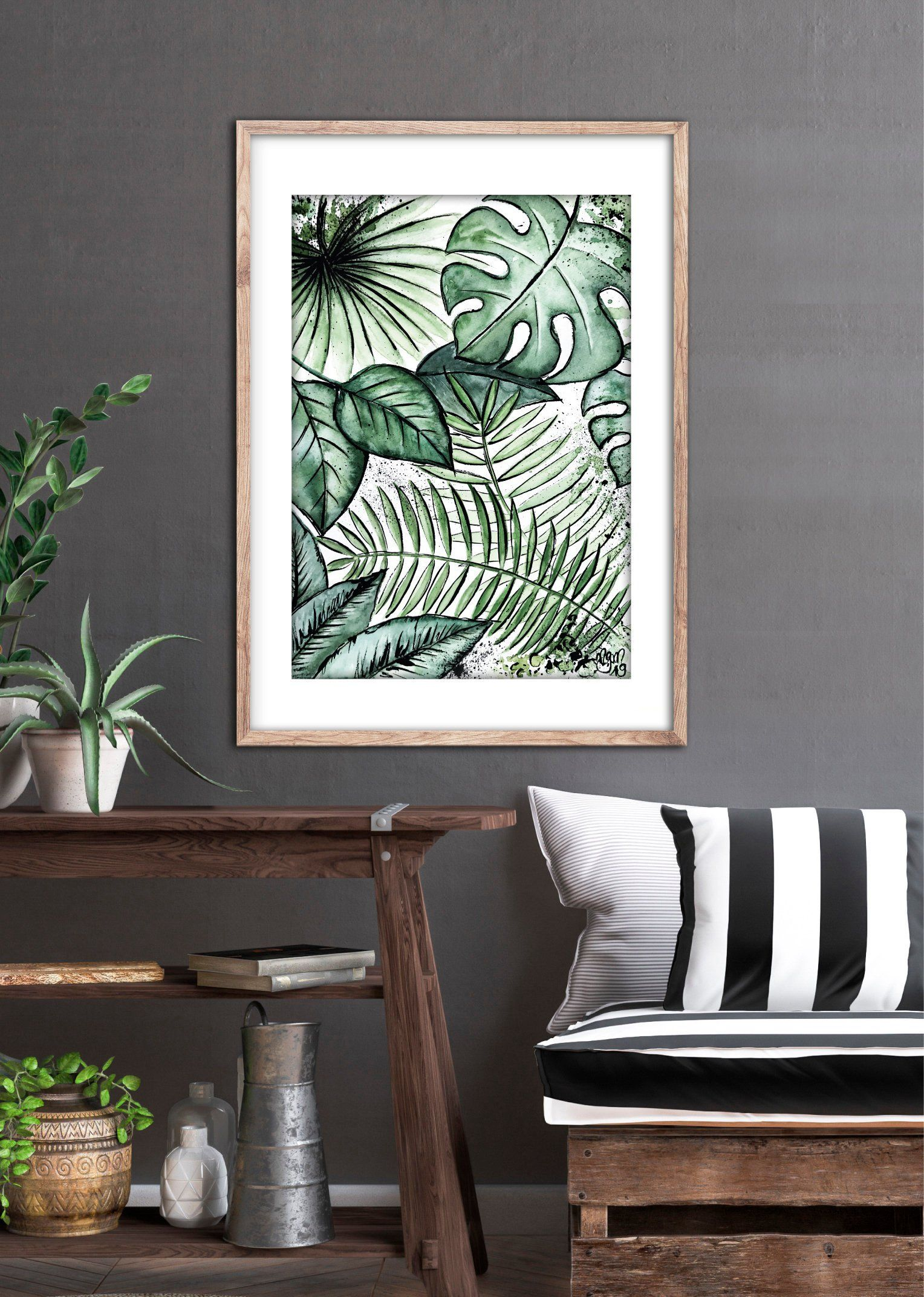 JUNGLE Watercolor-ART, Fineartprint-Poster, Aquarell/Watercolor Botanical Plant