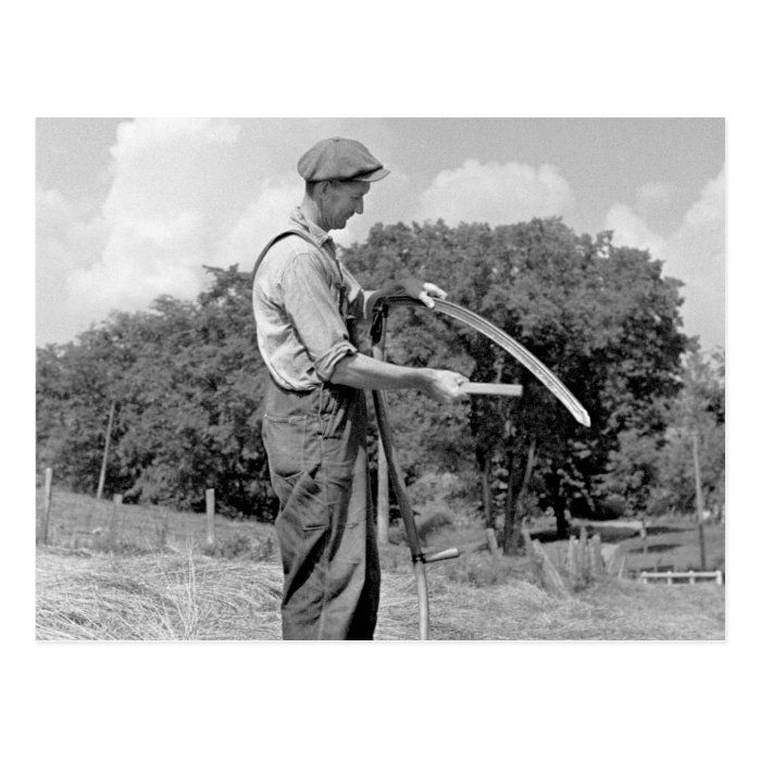 Vintage 1930s farm photo of farmer sharpening a scythe, Windsor County, Vermont. Photo by Arthur Rothstein for the U.S. Resettlement Administration, 1937.