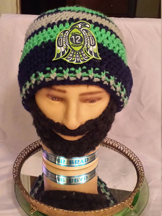 Seattle SEAHAWKS Bearded Beanies 12th Man Seahawks  DWedgeCreations   WinterHats  SkullCaps  Beanies ef165d1f296