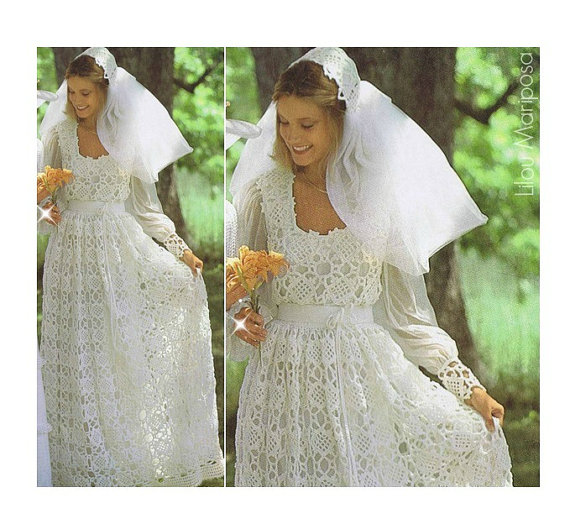 Crochet WEDDING DRESS PATTERN Vintage 70s and Crochet Wedding Bridal ...
